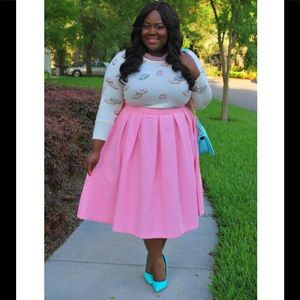 Eloquii Studio Midi Skirt in Bubblegum Pink